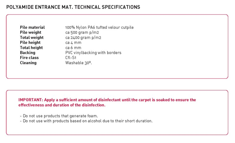 Mat technical specifications